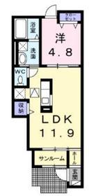 ボンボヌール1階Fの間取り画像