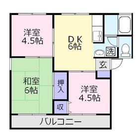 コーポ・ミヤデラ2階Fの間取り画像