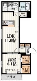 カルペ・ディエムJ1階Fの間取り画像