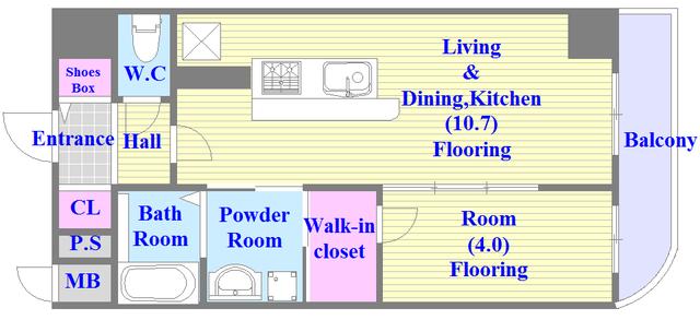 プレミアム菱屋西 人気の全室フローリング。使いやすいゆったりとした間取り。