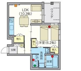 (シニア限定)HEBELVILLAGE鷺ノ宮2階Fの間取り画像
