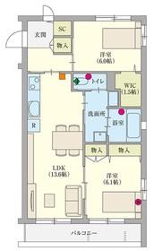 ヘーベルVillage横須賀中央2階Fの間取り画像