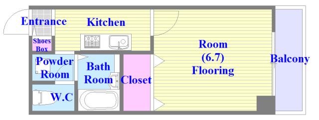 アンプルール フェール寿 バス・トイレがセパレート、各所に収納がある使いやすい間取り。