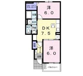ヌーベルアンジュ Ⅱ1階Fの間取り画像
