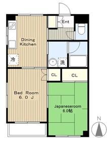 松田ハイツ3階Fの間取り画像