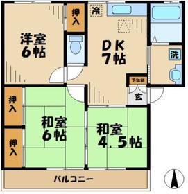 田中ハイツ3DK1階Fの間取り画像