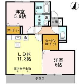 海老名駅 車20分7.0キロ1階Fの間取り画像
