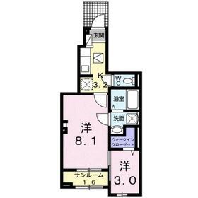 アビタシオンⅡ1階Fの間取り画像