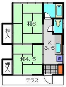 サニーハウスⅡ1階Fの間取り画像