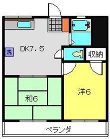 第2むさしマンション4階Fの間取り画像