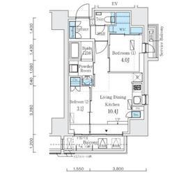 インプレストレジデンス上野 ジ アーキテクト13階Fの間取り画像