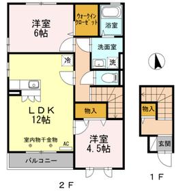 ユニヴェールB2階Fの間取り画像