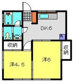富士荘1階Fの間取り画像