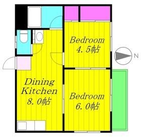 マロンハイツC棟1階Fの間取り画像