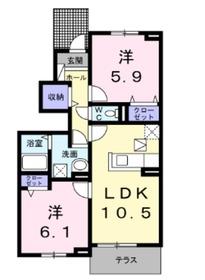 ブライトヒルズⅠ1階Fの間取り画像