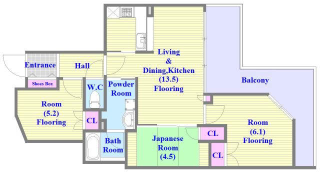ヴェリテ永和駅前 セパレートで和室もありファミリータイプにはおススメの間取です。