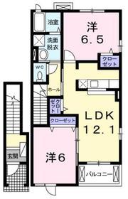 小作駅 バス5分「友田神社」徒歩3分2階Fの間取り画像