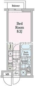 クロノガーデン神楽坂4階Fの間取り画像
