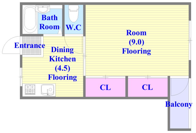 ハイツコスモ 人気の全室フローリング。収納スペースも充実しています。