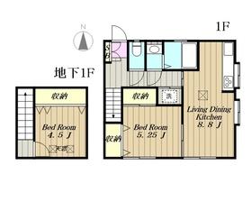 多摩市和田住宅1階Fの間取り画像