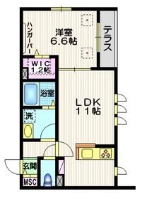 新川崎シティコート1階Fの間取り画像