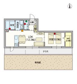 (シニア限定)ヘーベルVillage蓮根1階Fの間取り画像