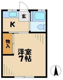住吉荘2階Fの間取り画像