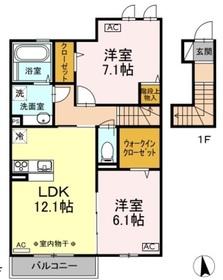 昭島駅 徒歩17分2階Fの間取り画像