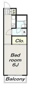 市川マンション2階Fの間取り画像