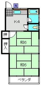 小嶋荘2階Fの間取り画像