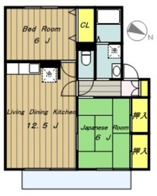 ボナールハウスI2階Fの間取り画像