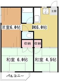 コーポアサヒ1階Fの間取り画像