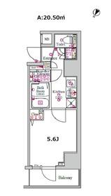 スカイコートパレス西横浜11階Fの間取り画像