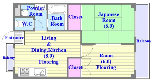 TSUJIHANAビルディング 各部屋が余裕のある広さで、とてもゆったりとした間取りです。