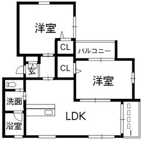 ドットコムタサキ2階Fの間取り画像
