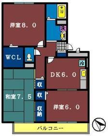 メゾントゥリバーノ1階Fの間取り画像