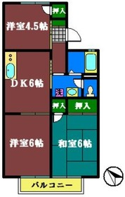 セジュールユアサB2階Fの間取り画像