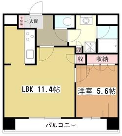 パークハウスワンズタワー9階Fの間取り画像