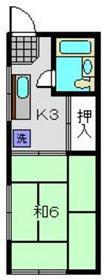 喜楽荘1階Fの間取り画像
