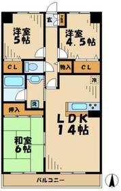 フラワーマンションコヤタ6階Fの間取り画像