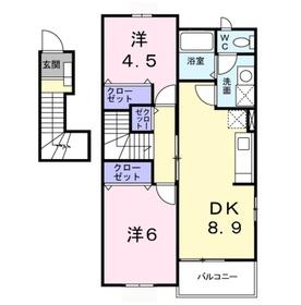 ベルメゾンA2階Fの間取り画像