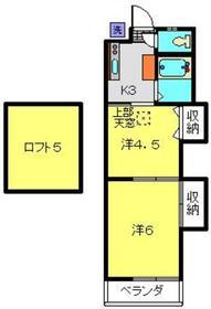 大浜ハイツ1号荘2階Fの間取り画像