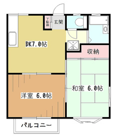 リバーサイドハイツII2階Fの間取り画像