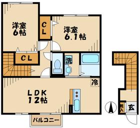 本厚木駅 バス16分「下依知入口」徒歩8分2階Fの間取り画像