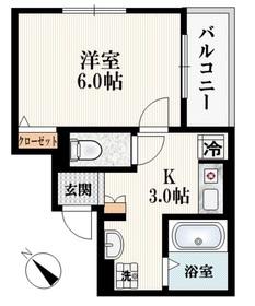 プランドール早稲田1階Fの間取り画像