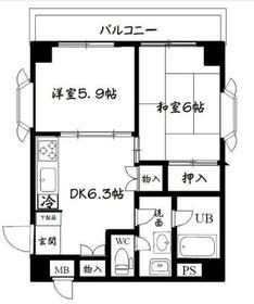 ポートハイム弘明寺第一2階Fの間取り画像