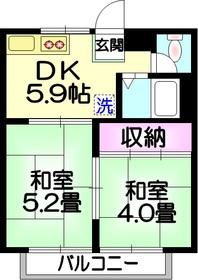 加賀ハイツ2階Fの間取り画像