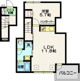 KIRISATO Lagom2階Fの間取り画像