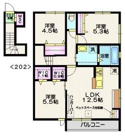 (仮称)草加市新里町メゾン2階Fの間取り画像