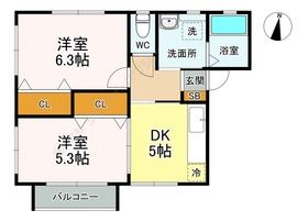 Wing K-Ⅱ2階Fの間取り画像